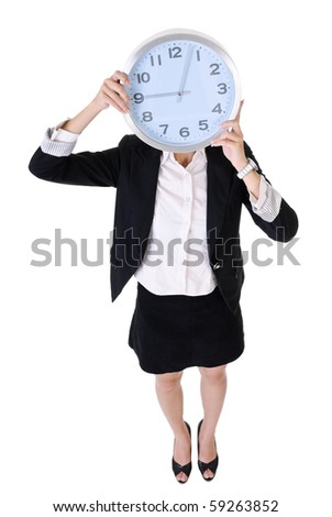 Business woman holding clock, full length portrait isolated on white background. - stock photo