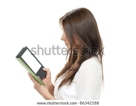 Business woman holding ebook electronic tablet touch pad computer with white screen isolated on a white background - stock photo