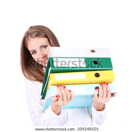 Business woman holding folders, isolated on white - stock photo