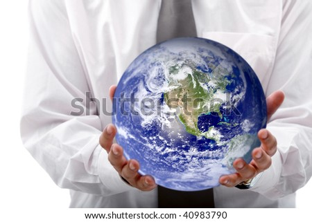 Business woman holding globe isolated over a white background - stock photo