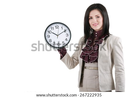 Business woman holding in hands clock, isolated on white background - stock photo