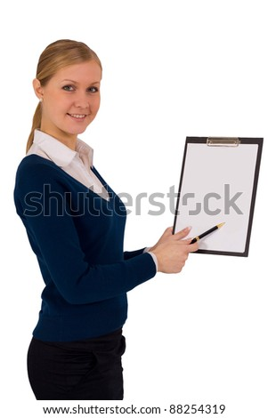 business woman holding reports and looking at camera - stock photo