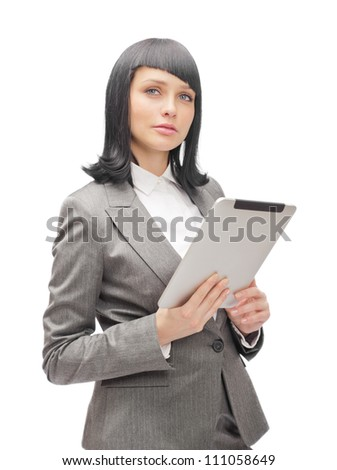 Business woman holding tablet computer isolated on white background. Working on touching screen.