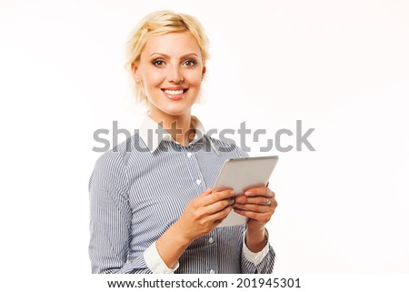 Business woman holding tablet computer on white background. working on touching screen. - stock photo