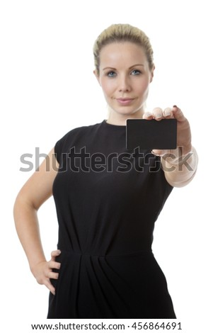 Business woman holding up a business card