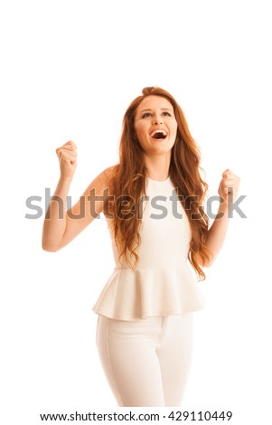 Business woman holds hands in the air as a gesture of great success - stock photo