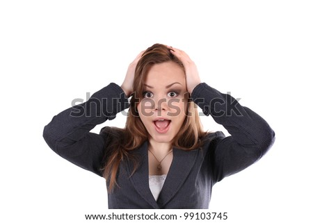Business woman holds her head - stock photo