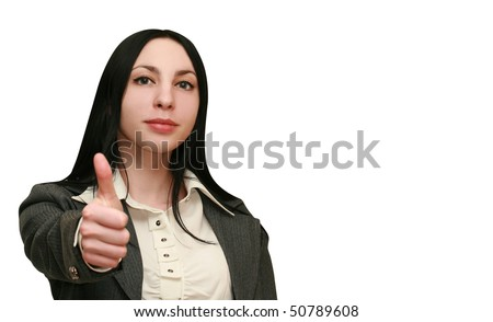 Business woman holds thumbs up. Focus on the face - stock photo