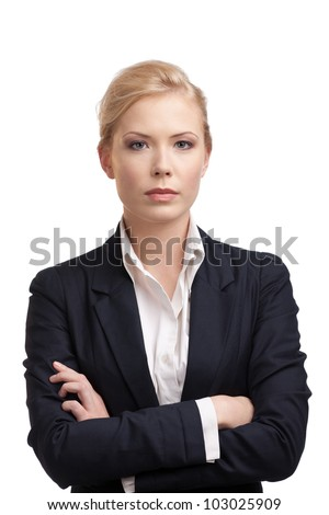 Business woman in a black suit, isolated on white background - stock photo