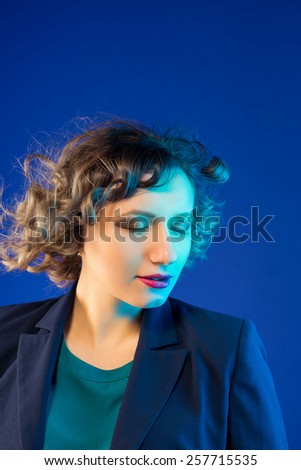 business woman in a jacket. Secretary - stock photo