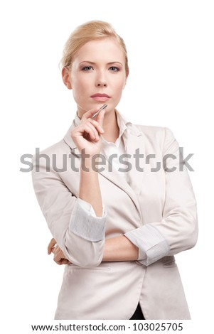 Business woman in a light beige suit, isolated on white background - stock photo