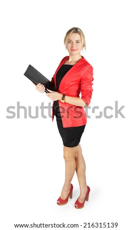 Business woman in a red jacket with a black folder in hands isolated on white background - stock photo