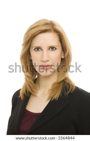 Business woman in a suit against a white background - stock photo
