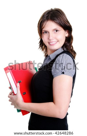 Business woman in a suit derzheit in the hands of a folder with documents
