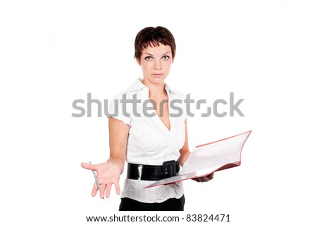 business woman in a suit with clipboard on a white background - stock photo
