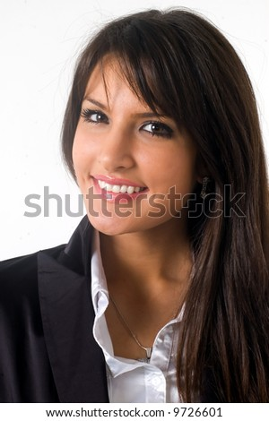Business woman in black casual dress. Young brunette.