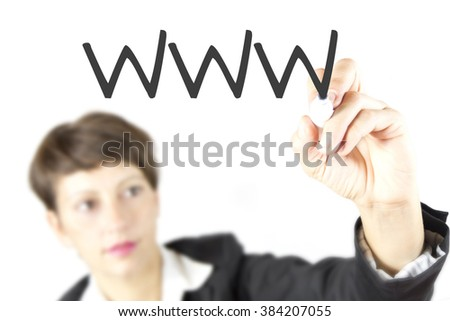 Business woman in business suit drawing diagram with www. Website written by attractive business woman. On-line marketing and sales. - stock photo