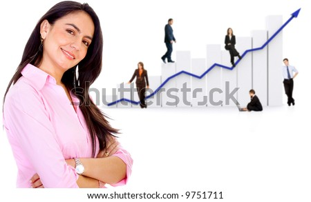 business woman in front of a group of business people with a chart representing growth and success - isolated over a white background - stock photo