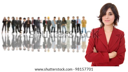 business woman in front of a group of people - stock photo