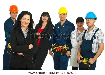 Business woman in front of group of people with different careers against white background - stock photo