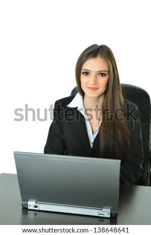 Business Woman in Front of Laptop - stock photo