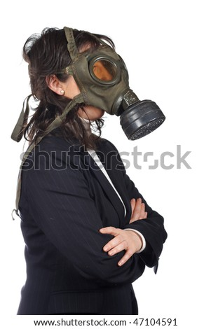 Business woman in gas mask isolated on white background - stock photo