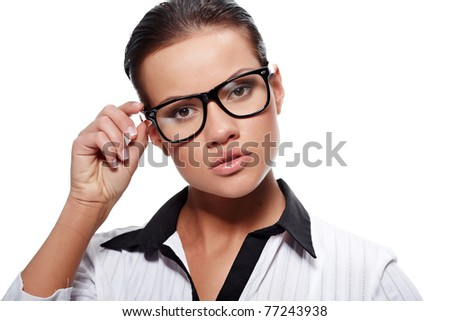 business woman in glasses - stock photo