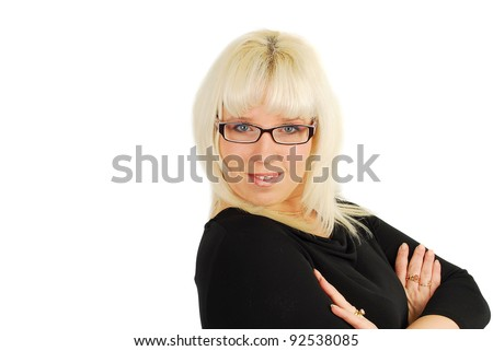 Business woman in glasses isolated on the white.