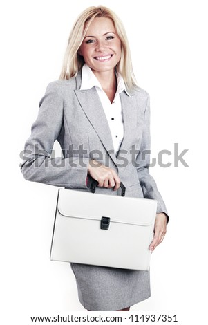 Business woman in gray suit with briefcase isolated on white - stock photo