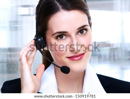 Business woman in headsets. Call center operator.
