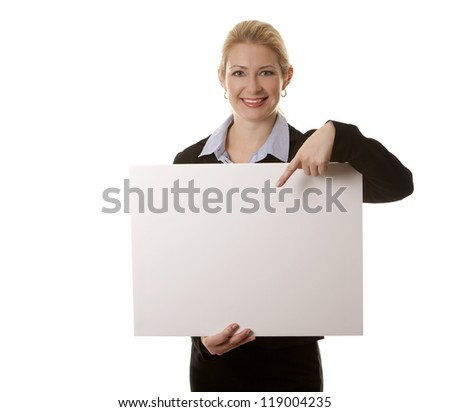 business woman in her 40s on white isolated background - stock photo