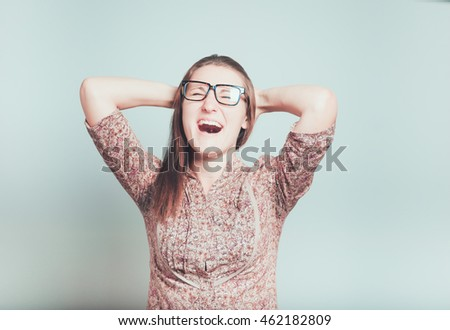 business woman in hysterics isolated