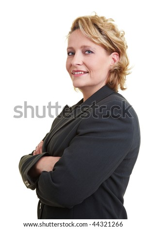 Business woman in jacket with crossed arms - stock photo