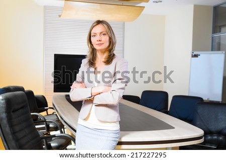 business woman in modern office - stock photo