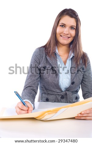 Business woman in modern office writing notes isolated