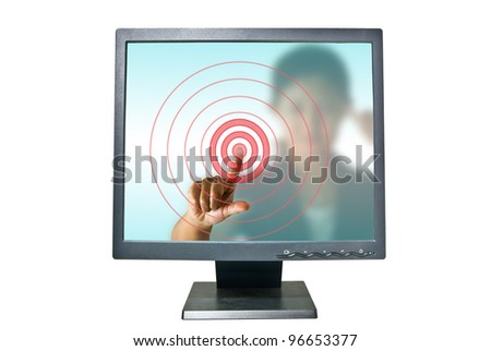 Business woman in monitor pressing red button - stock photo
