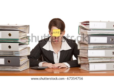 business woman in office between folder stacks needs help. Isolated on white background. - stock photo