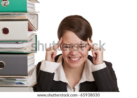 Business woman in office has migraine because of stress. Isolated on white background. - stock photo