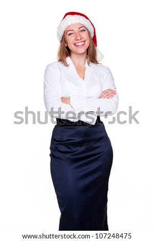 business woman in santa hat is laughing over white background