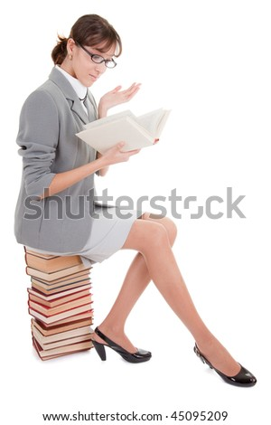 business woman  in spectacles and book on white