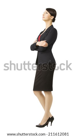 Business woman in suit, isolated over white background, full length portrait - stock photo