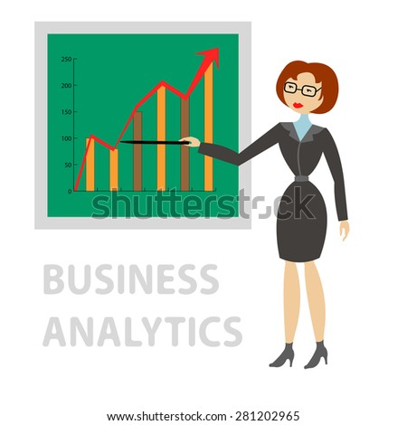 Business woman in suit shows on the board at the graph of profit growth - stock photo