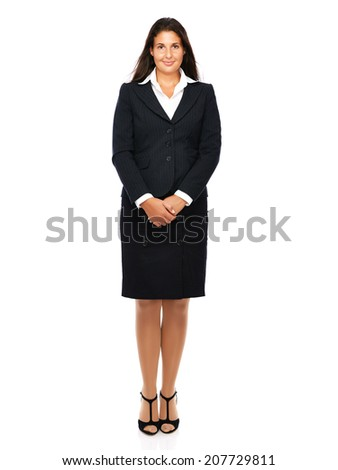 Business woman in suit smiling looking into camera.   Isolated on a white background. - stock photo