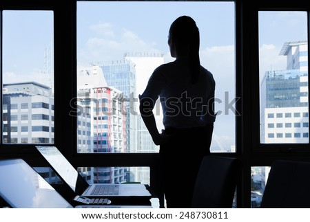 Business woman in the office - stock photo
