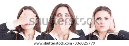Business woman in three stances blind, mute and deaf in wide image isolated on white background - stock photo