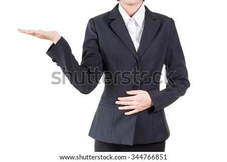 business woman in welcome pose or showing something isolated on white background
