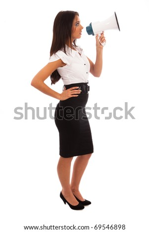 Business Woman in white shirt and black skirt talking into a megaphone