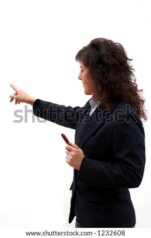 Business woman indicating with the finger in the presentation