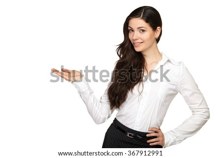 Business woman is pointing with his hand and smiling - stock photo