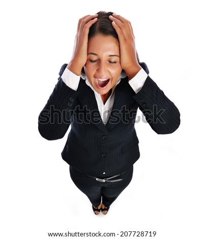 Business woman is screaming has headache.    Isolated on a white background. - stock photo